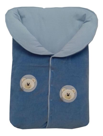 Saco Dormir Menino Plush+suedine Bordado Urso Azul Céu/bebê