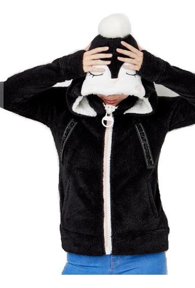 Chamarra Hollyland Calientita De Peluche Mujer Pingüino