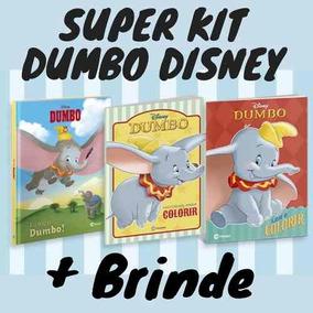 Kit 3 Livros Dumbo Disney 1 Luxo + 2 Atividades De Colorir