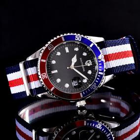 Relógio Southberg Submariner Pepsi Pulseira Em Nylon