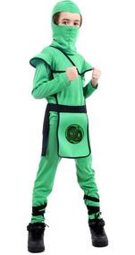 Roupa De Ninja De Luxo Com Gorro Preto Vermelho Ou Verde