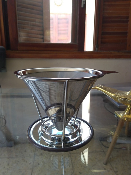 Filtro De Café Acero Inoxidable Dos Piezas Mallado Doble