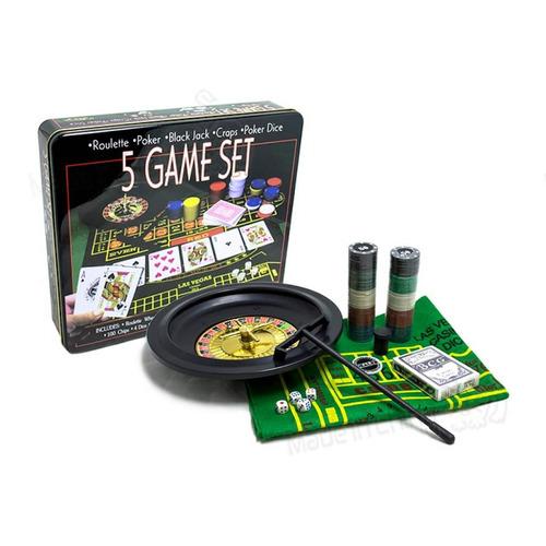 5 Juegos Casino + Ruleta Fichas Y Tapete / Póker Dados Mnr