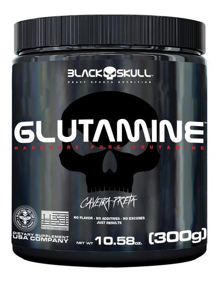 Glutamina Pura 300g Caveira Preta - Black Skull