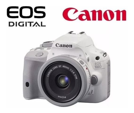 Canon Eos 100d Sl1 Branca + Lente Canon Ef-s 55-250 F4 5.6is
