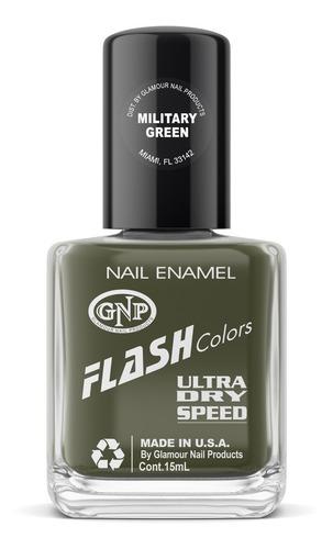 Imagen 1 de 4 de Esmalte Flash Colors De Gnp 15ml Military Green