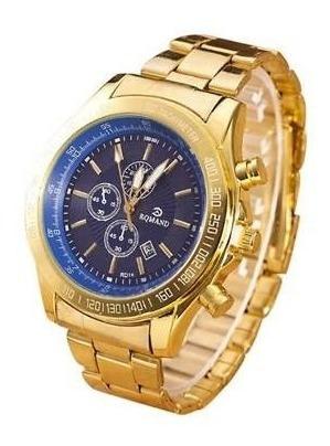 Relógio De Pulso Grande Para Homem Com Fundo Azul Dourado