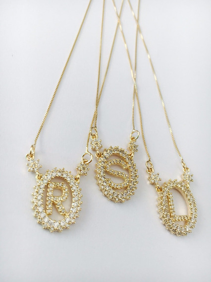 Pingente C/corrente Semi-jóia Banhado Ouro Letras R/ S