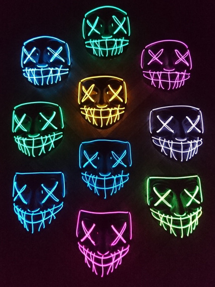 Mascara La Purga Con Luz Led De Colores Premiun+pila