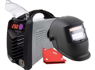 Soldadora Inverter Neo 250 Amp Profesional + Mascara Fotosensible + Escuadra Con Display Digital Maquina De Soldar