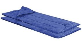 Kit Com 2 Sacos De Dormir Com Zíper Para Acampar Azul