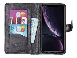 Carteira iPhone XR | Case Flip Skudo Couro Legítimo Real