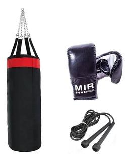 Bolsa Boxeo, Guantin,cadena Y Soga Combo Box Kit Box Fitness