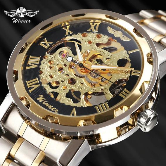 Relógio Masculino Winner Skeleto Mecânico Aço Inox Promoção