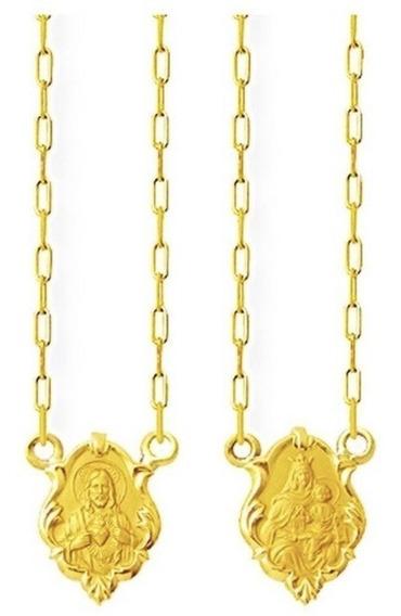 Escapulario Ouro 18k 750 Masculino Feminino Ornato