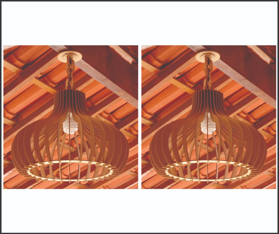 Kit Com 2 Luminárias Lustre Pendente Rústico 45cm