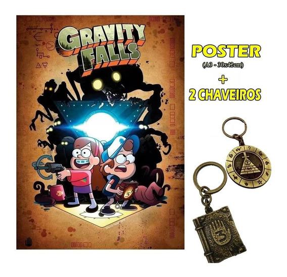 Gravity Falls Poster + 2 Chaveiros Diário 3 E Bill Cypher