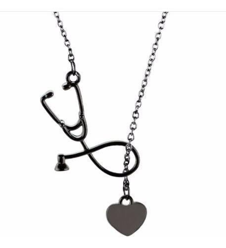 Cadena Dije Estetoscopio Doctor(a) Enfermera En Negro Onix