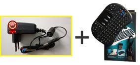Kit Fonte 5v Bivolt P/ Tv Box Btv9 + Mini Teclado Bluetooth