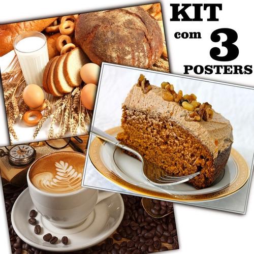Poster 65cmx100cm Kit Com 3 Decorar Padaria Lanchonete Café