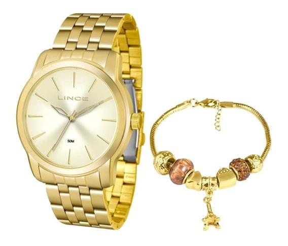 Relógio Analógico Dourado Feminino Lince Lrg4551l + Brinde