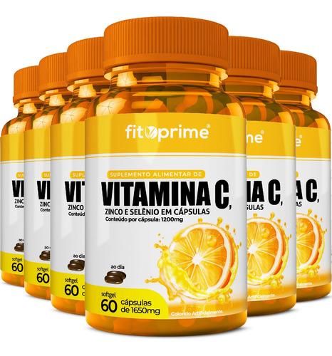 6 Vitamina C 1000mg + Zinco E Selênio 60 Cápsulas Fitoprime