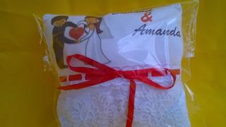 Almofada Rendada, Porta Aliança Personalizada Para Casamento