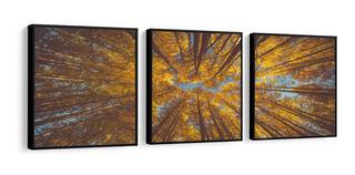 Quadro Mosaico Decorativo Floresta Árvores Amarela 180x60