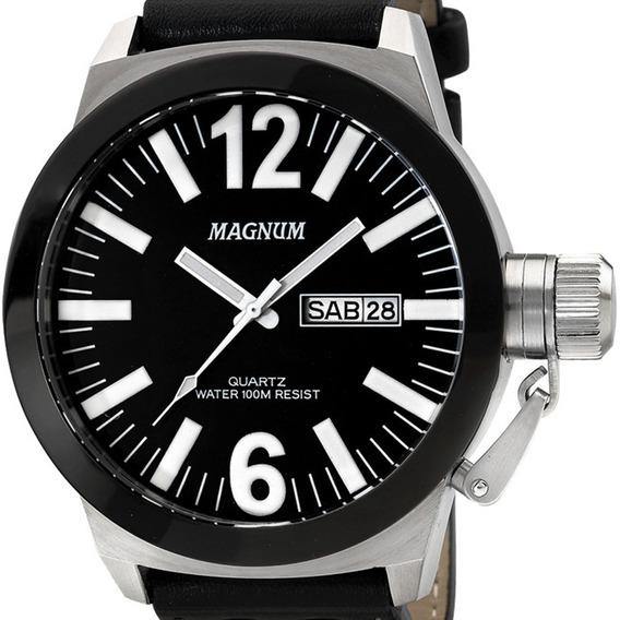 Relógio Masculino Magnum Ma31533t Original Pulseira Couro