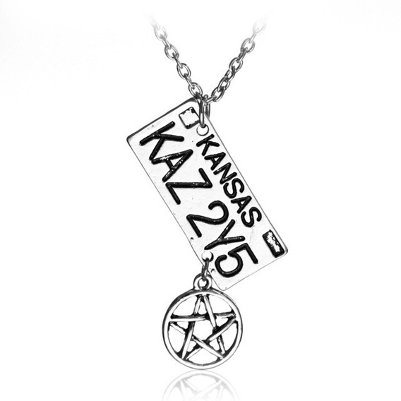 Colar Supernatural Placa Pentagrama Sobrenatural Dean