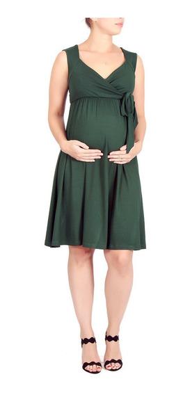 Vestido Gestante Curto Amamentação Verde