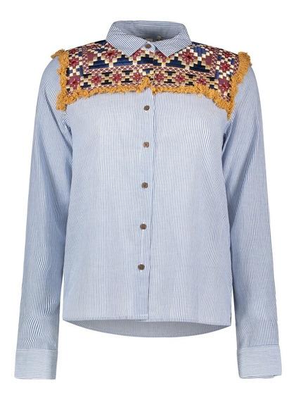 Camisa Rayada Y Bordada Indian Mujer 6471