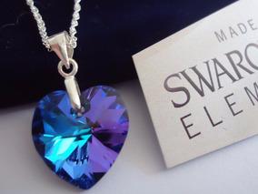 Collar Swarovski Elements Corazón 14mm Cadena Plata Cyberday