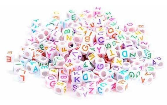 Cubo De Letras Multicolores Acrílicos Pulseras O Bisutería