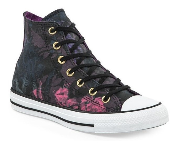 Zapatillas Converse All Star Floral Negro Violeta Ultimo Par