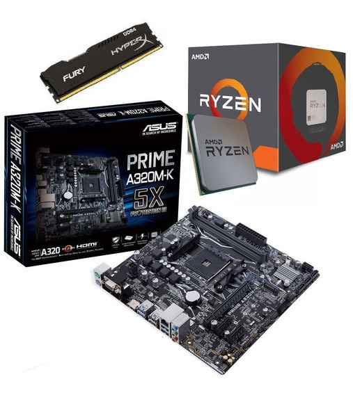 Kit Amd Ryzen 5 2400g 3.6ghz + Asus A320m-k + 8gb C/nfe