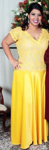 Vestido De Festa Longo Amarelo - Tamanho Gg