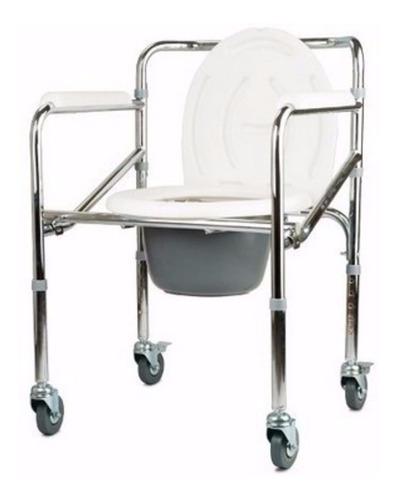 Silla Tipo Sanitario Con Ruedas En Aluminio Ref: Ci-696l