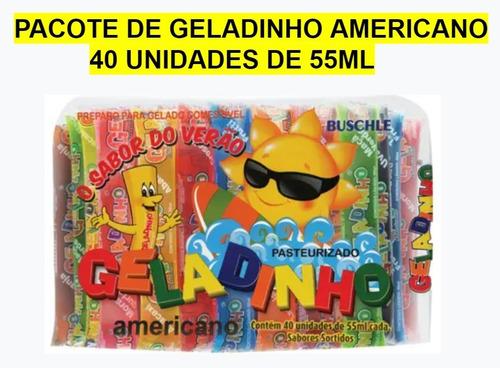 1 Pacote De Geladinho Americano Buschle - 40 Unids X 55ml