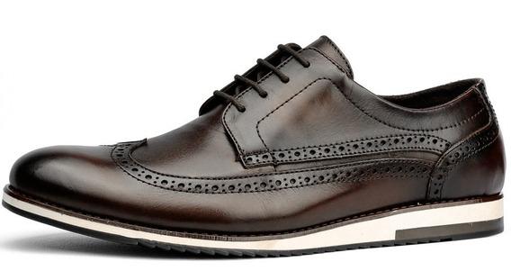 Sapato Oxford Casual Masculino Couro Legitimo Mega Oferta