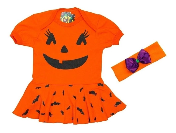 Body Infantil Vestido Abobora Vestido Com Arquinho Laranja B