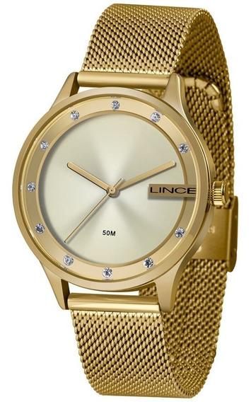 Relógio Feminino Lince Dourado Inoxidável Lrg4623kl Clássico