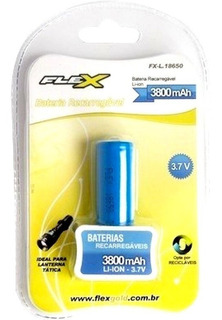 Bateria P/ Lanterna Flex Fx-18650 3,7v 3800mah Original