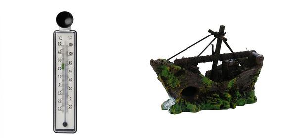 Barco Naufrago Aquário Ornamento 12cmx8cmx4cm + Termometro