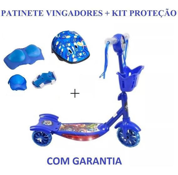 Patinete Infantil 3 Rodas Cesta Vingadores+kit Proteção