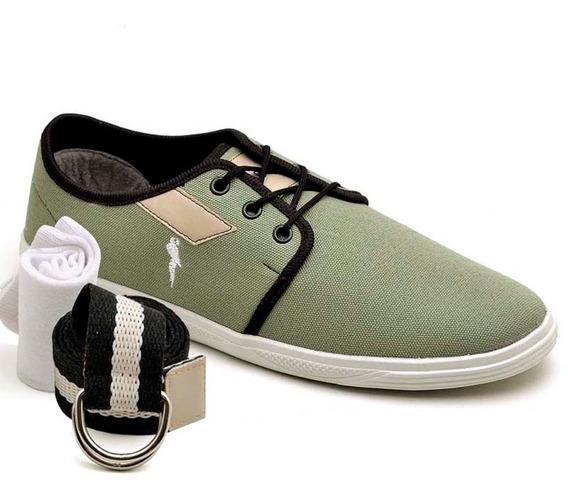 Sapatenis Kit Cinto E Meia Polo Blu Barato 200 Sapato Tenis