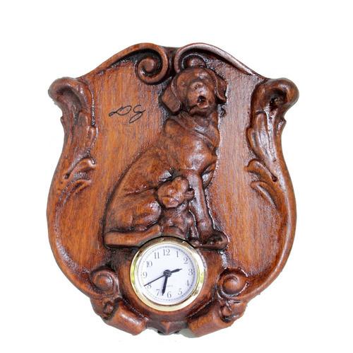 Relógio Cachorro, Labrador, De Madeira, Para Mesa, Esculpido