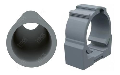 Imagem 1 de 3 de Kit 25pçs Abraçadeira P/tubo Eletroduto 3/4pol Click Cinza