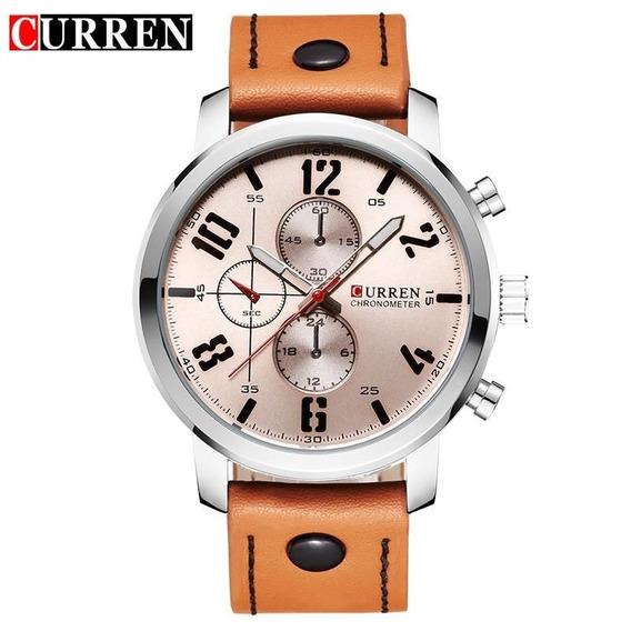Relógio De Pulso Curren 8192 Original - Pulseira De Couro