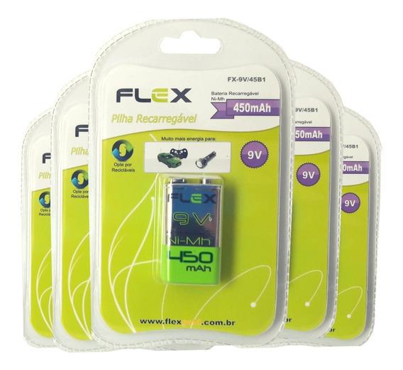 Bateria 9v Recarregável 450mah Flex Kit 10 Baterias